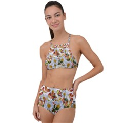 Flowers Roses Leaves Autumn High Waist Tankini Set