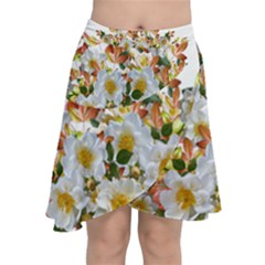 Flowers Roses Leaves Autumn Chiffon Wrap Front Skirt