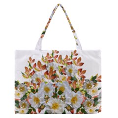 Flowers Roses Leaves Autumn Zipper Medium Tote Bag