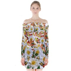 Flowers Roses Leaves Autumn Long Sleeve Off Shoulder Dress