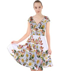 Flowers Roses Leaves Autumn Cap Sleeve Front Wrap Midi Dress