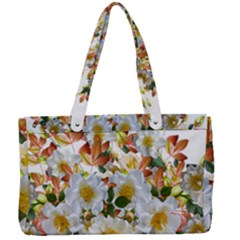 Flowers Roses Leaves Autumn Canvas Work Bag