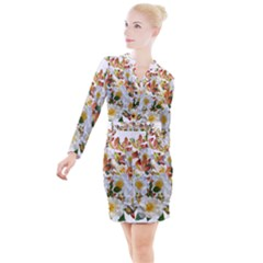 Flowers Roses Leaves Autumn Button Long Sleeve Dress