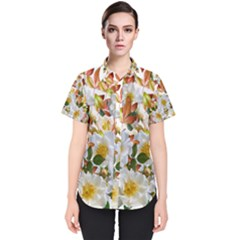 Flowers Roses Leaves Autumn Women s Short Sleeve Shirt