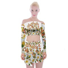 Flowers Roses Leaves Autumn Off Shoulder Top With Mini Skirt Set