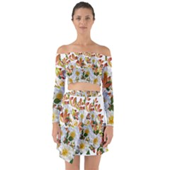 Flowers Roses Leaves Autumn Off Shoulder Top With Skirt Set