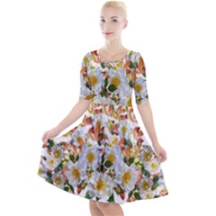 Flowers Roses Leaves Autumn Quarter Sleeve A Line Dress