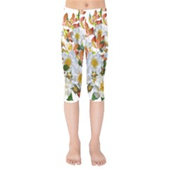 Flowers Roses Leaves Autumn Kids  Capri Leggings
