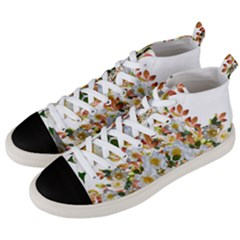 Flowers Roses Leaves Autumn Men s Mid-top Canvas Sneakers by Pakrebo