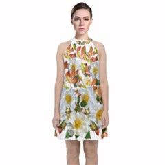 Flowers Roses Leaves Autumn Velvet Halter Neckline Dress