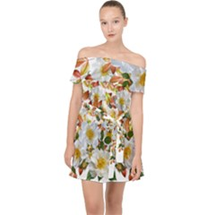 Flowers Roses Leaves Autumn Off Shoulder Chiffon Dress