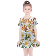 Flowers Roses Leaves Autumn Kids  Simple Cotton Dress