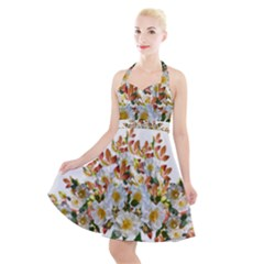 Flowers Roses Leaves Autumn Halter Party Swing Dress