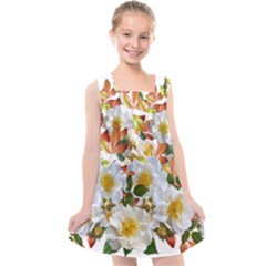 Flowers Roses Leaves Autumn Kids  Cross Back Dress