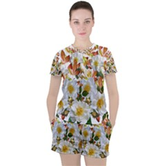 Flowers Roses Leaves Autumn Women s Tee And Shorts Set