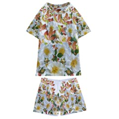 Flowers Roses Leaves Autumn Kids  Swim Tee And Shorts Set