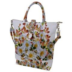 Flowers Roses Leaves Autumn Buckle Top Tote Bag