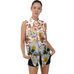 Flowers Roses Leaves Autumn Sleeveless Chiffon Button Shirt