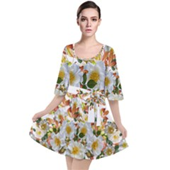 Flowers Roses Leaves Autumn Velour Kimono Dress