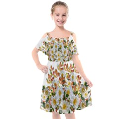 Flowers Roses Leaves Autumn Kids  Cut Out Shoulders Chiffon Dress