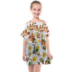 Flowers Roses Leaves Autumn Kids  One Piece Chiffon Dress