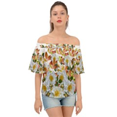 Flowers Roses Leaves Autumn Off Shoulder Short Sleeve Top