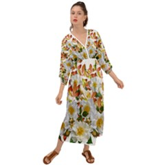 Flowers Roses Leaves Autumn Grecian Style  Maxi Dress