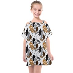 Gray Brown Black Neutral Leaves Kids  One Piece Chiffon Dress