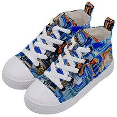 Koi Fish Koi Pond Japanese Inspired Kids  Mid-top Canvas Sneakers by CrypticFragmentsDesign