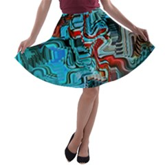 Waters Run Deep Colorful Abstract  A Line Skater Skirt by CrypticFragmentsDesign