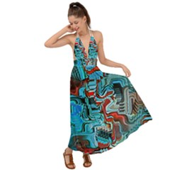 Waters Run Deep Colorful Abstract  Backless Maxi Beach Dress