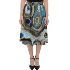 Blue Tidal Pools Abstract Art  Classic Midi Skirt by CrypticFragmentsDesign
