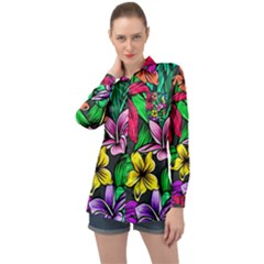Neon Hibiscus Long Sleeve Satin Shirt