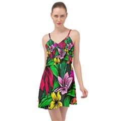 Neon Hibiscus Summer Time Chiffon Dress