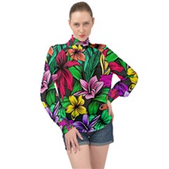 Neon Hibiscus High Neck Long Sleeve Chiffon Top