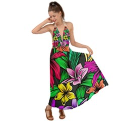 Neon Hibiscus Backless Maxi Beach Dress