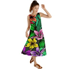 Neon Hibiscus Summer Maxi Dress