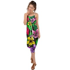 Neon Hibiscus Waist Tie Cover Up Chiffon Dress