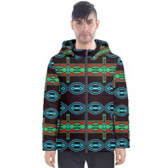 Ovals And Tribal Shapes                               Men s Hooded Puffer Jacket by LalyLauraFLM