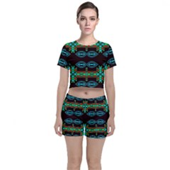 Ovals And Tribal Shapes                              Crop Top And Shorts Co-ord Set by LalyLauraFLM