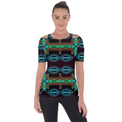 Ovals And Tribal Shapes                              Shoulder Cut Out Short Sleeve Top