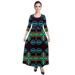 Ovals And Tribal Shapes                                 Quarter Sleeve Maxi Velour Dress