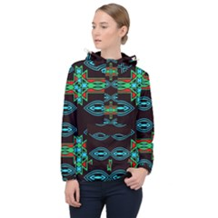 Ovals And Tribal Shapes                               Women Hooded Front Pocket Windbreaker