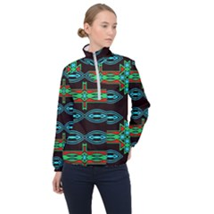 Ovals And Tribal Shapes                               Women Half Zip Windbreaker