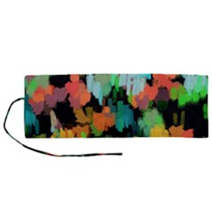 Paint Brushes On A Black Background                             Roll Up Canvas Pencil Holder (m) by LalyLauraFLM