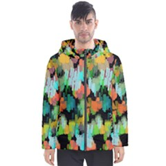 Paint Brushes On A Black Background                                Men s Hooded Puffer Jacket by LalyLauraFLM