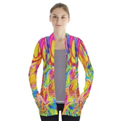 Mixed Paint                                Women s Open Front Pockets Cardigan