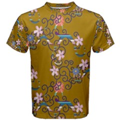 Textile Flowers Pattern Men s Cotton Tee