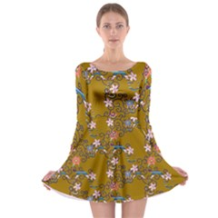 Textile Flowers Pattern Long Sleeve Skater Dress