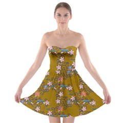 Textile Flowers Pattern Strapless Bra Top Dress by HermanTelo